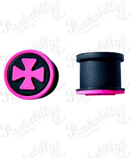 Pink Iron Cross Design Silicone Plug