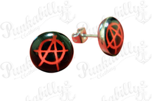 Stainless Steel Anarchy Ear Studs
