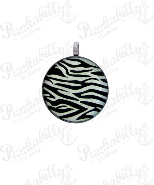 Stainless Steel White Zebra Pendant