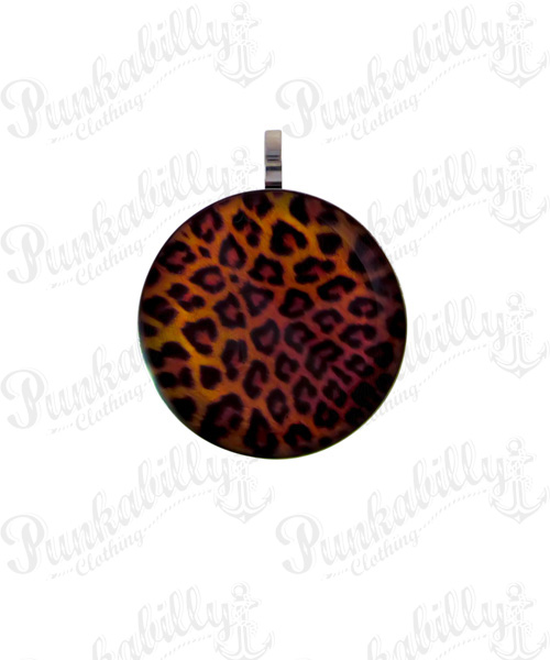 Acrylic Leopard Design Stainless Steel Pendant