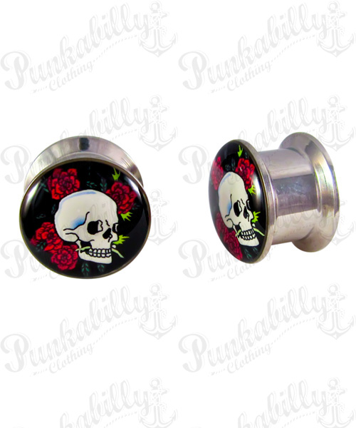 Skull Rose Stainless Steel Plug