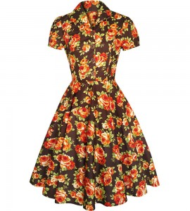 Pin up clothing: floral dress for fall