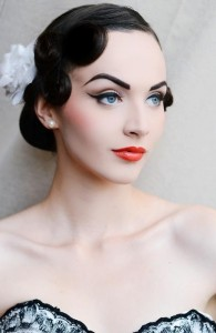 Vintage makeup and Pin Up clothing