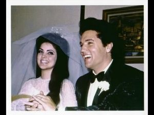 Pioneer of Rockabilly Music Elvis Presley with wife Priscilla.