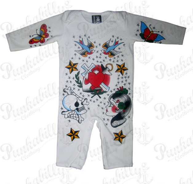 Click Here Rockabilly Baby Onesie With Tattoo Prints