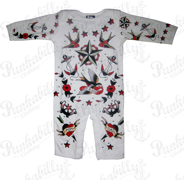 Old Scool Style Rockabilly Baby Onesie