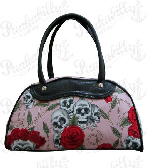 Pink Skulls & Roses Bowling Bag