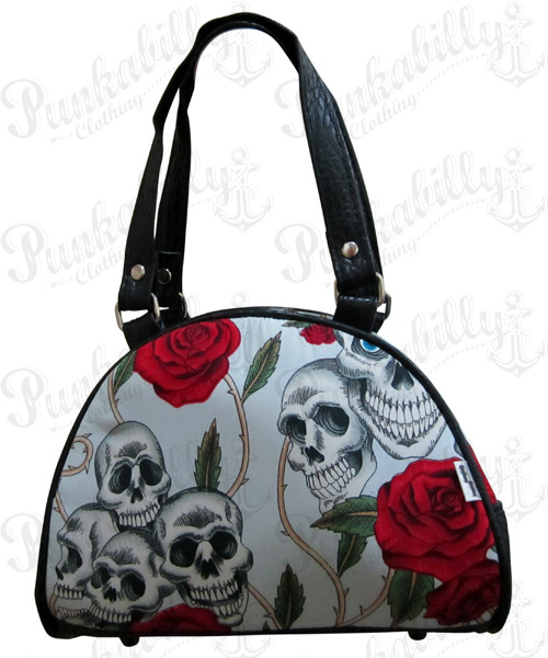 Light Blue Skulls & Roses Mini Bowling Bag