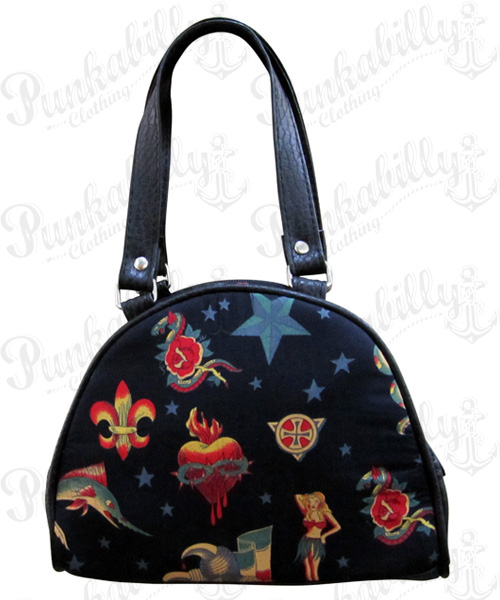 Black Rockabilly Tattoo Mini Bowling Bag
