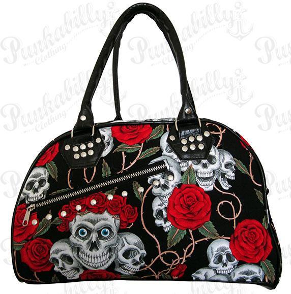 Skulls & Roses Black Bowling Bag