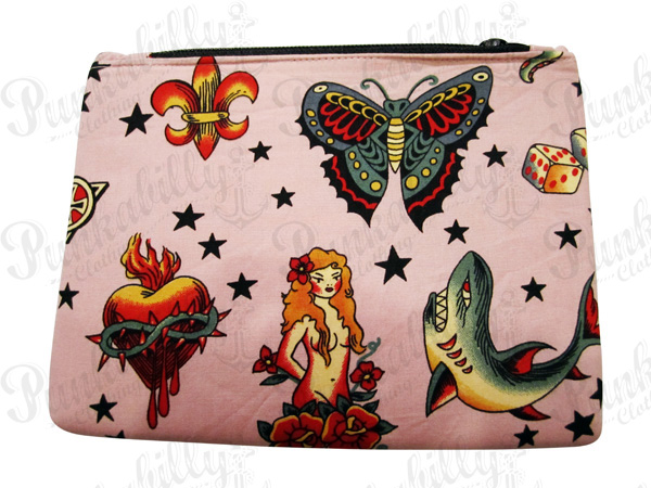 Pink Tattoo design Rockabilly Pouch