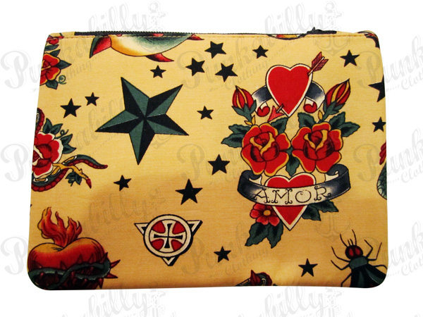 Vintage Brown Tattoo design Rockabilly Pouch