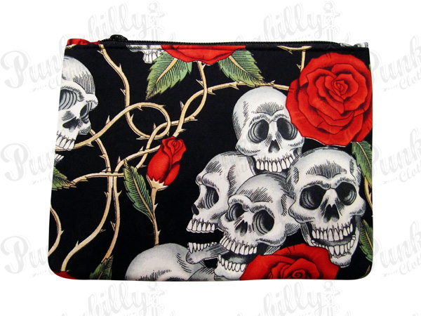 Black Rockabilly Pouch with Skulls and Rosses