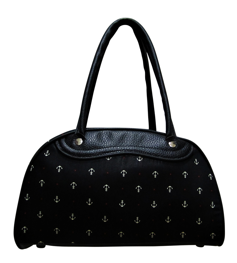 Anchor design black bowling bag
