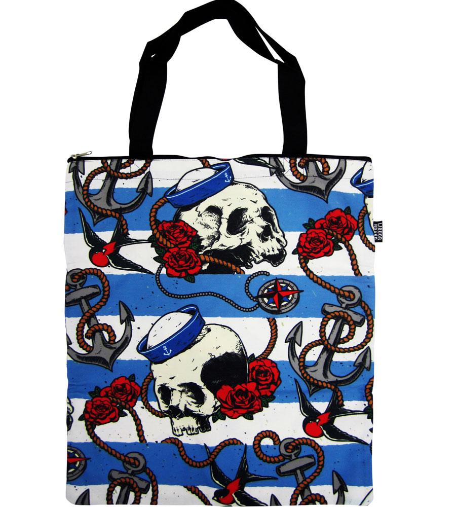 Nautical Skull Canvas Bag