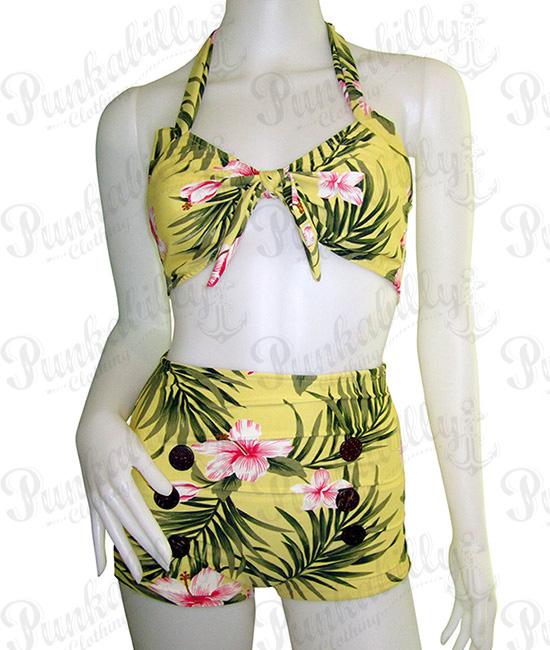 Yellow Hawaiian style Pin Up Bikini