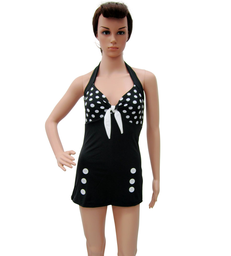 Halter top polka dot Black Swimwear