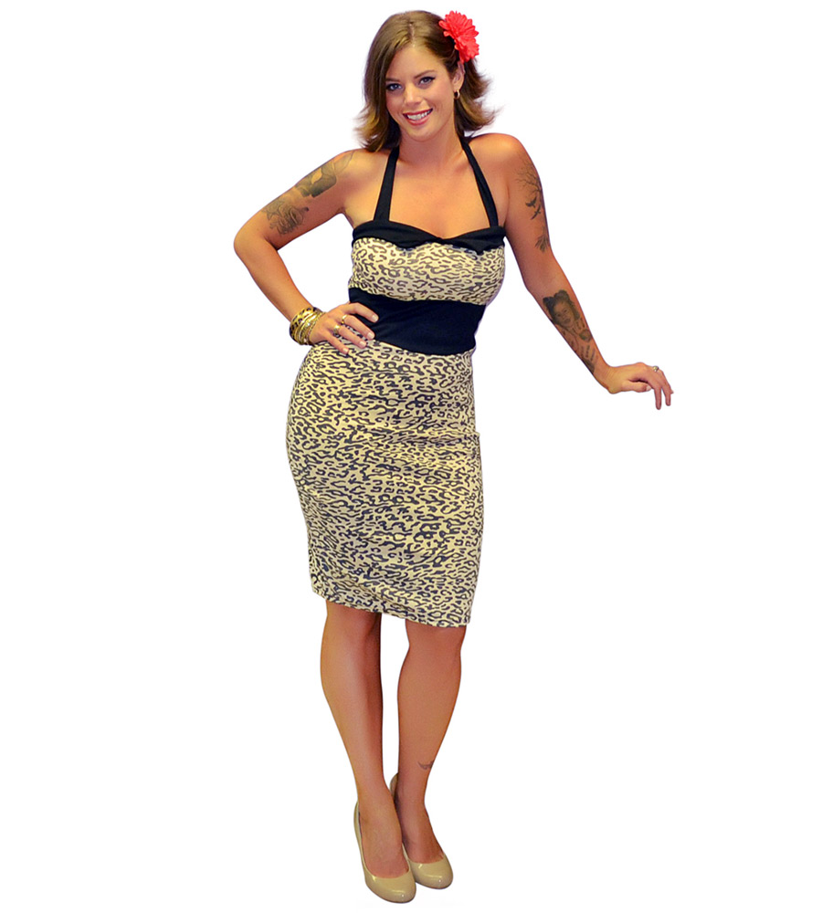 Hot Rockabilly Leopard Print Dress