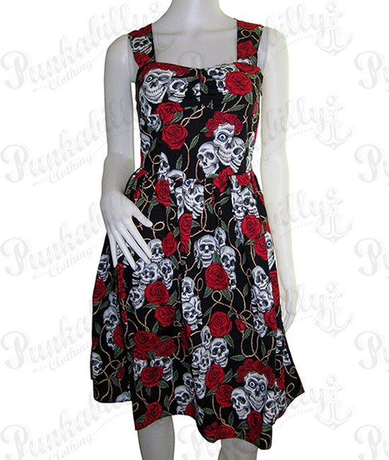 Black Skulls & Rosses Rockabilly Dress