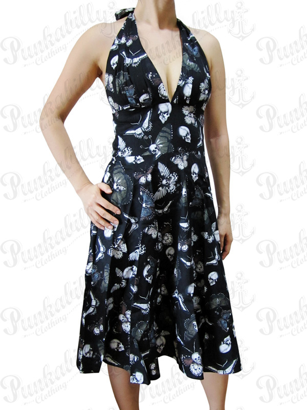 Butterfly Skulls Cotton Dress