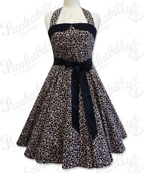 Leopard rockabilly swing dress