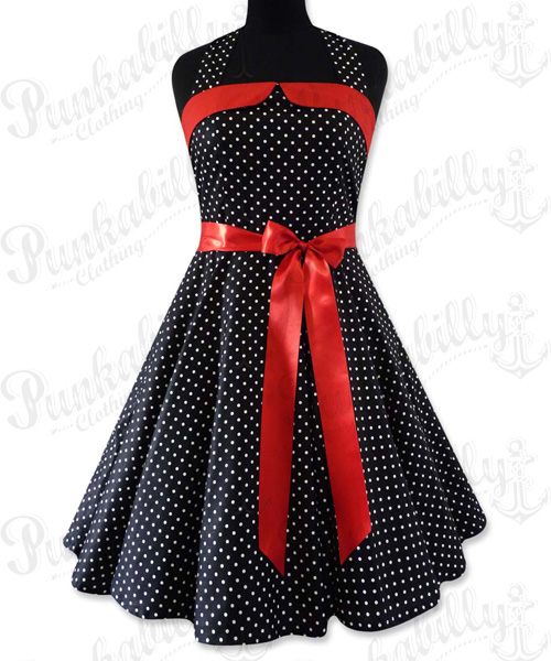 Black swing dress with white polka dots