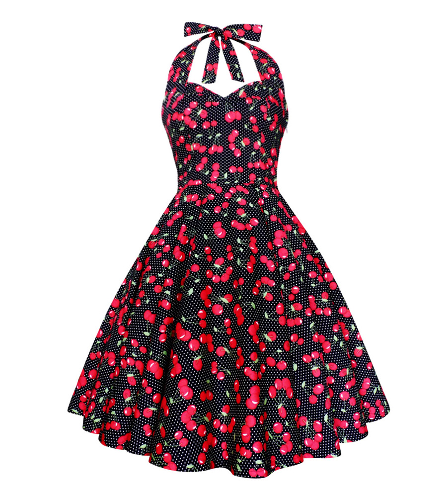 Polka Dots & Cherry black dress