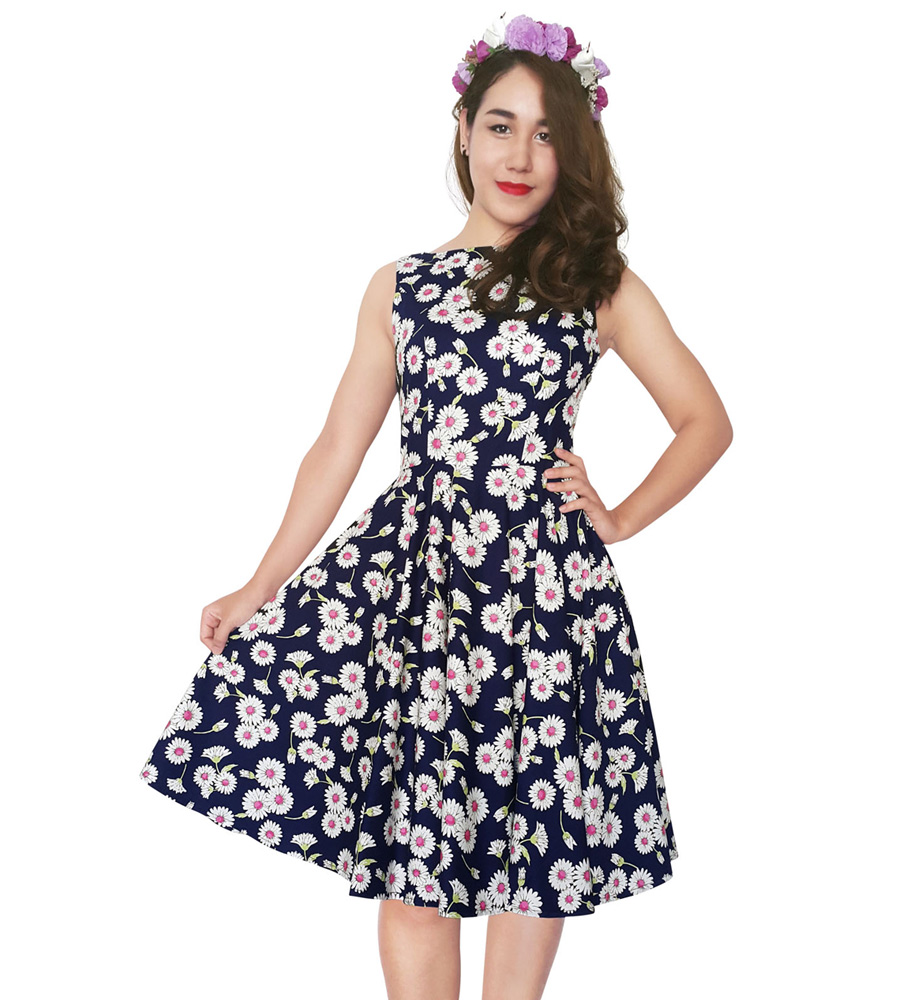 Pink & Navy Floral Summer Dress
