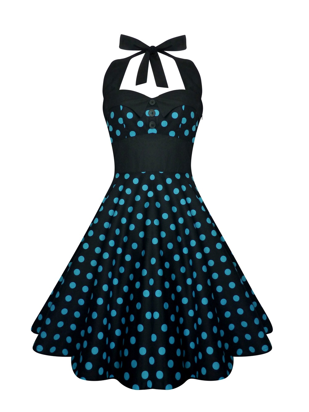 blue and black vintage inspired swing dress