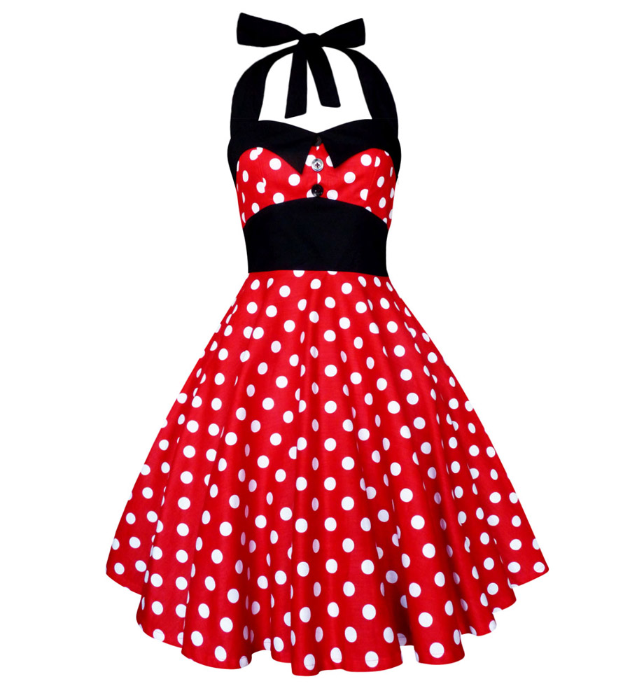 Vintage inspired White polka dots Red Dress