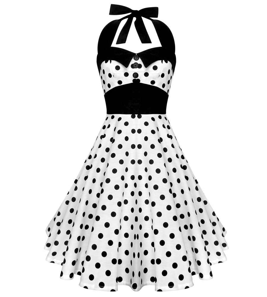 White Helter Dress with black polka dots