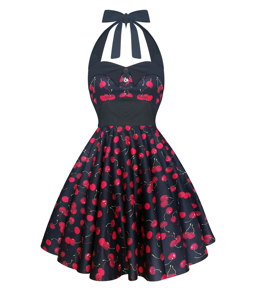Halter Cherry Rockabilly Dress