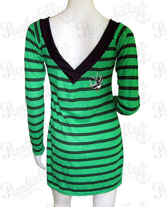 DRESSES / Green Swallow Bird Rockabilly Dress