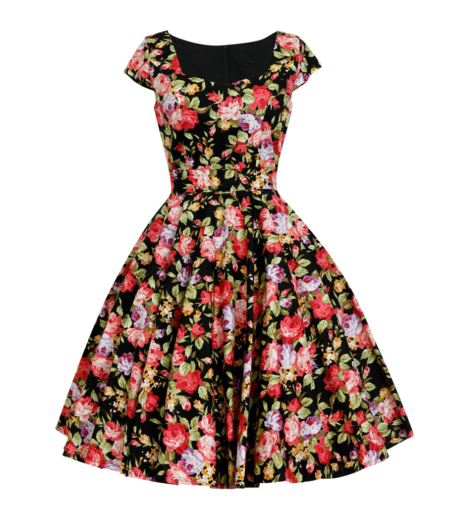 Rockabilly Inspired Floral Tea Dress