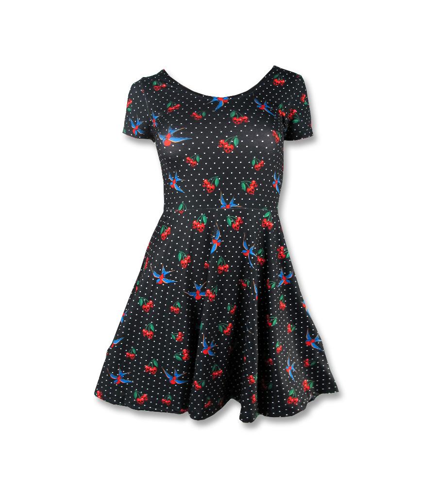 Cherry Skulls Skater Dress