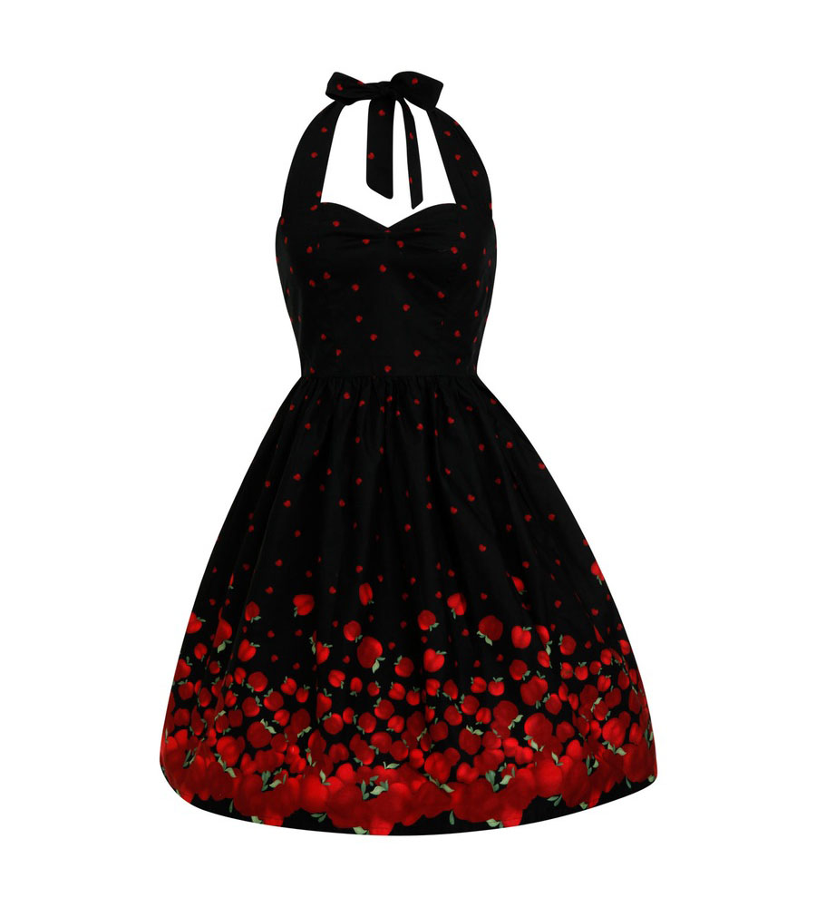 Halter Red Apple Rockabilly Dress