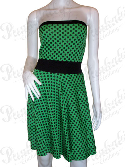 Green Rockabilly Wiggle Dress with Polka Dots