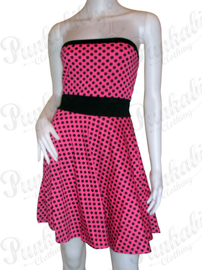 Pink Rockabilly Polka dot wiggle Dress
