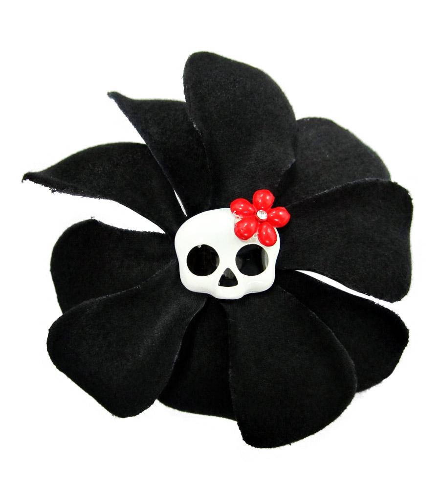 Black Rose & Skull Hair Pin