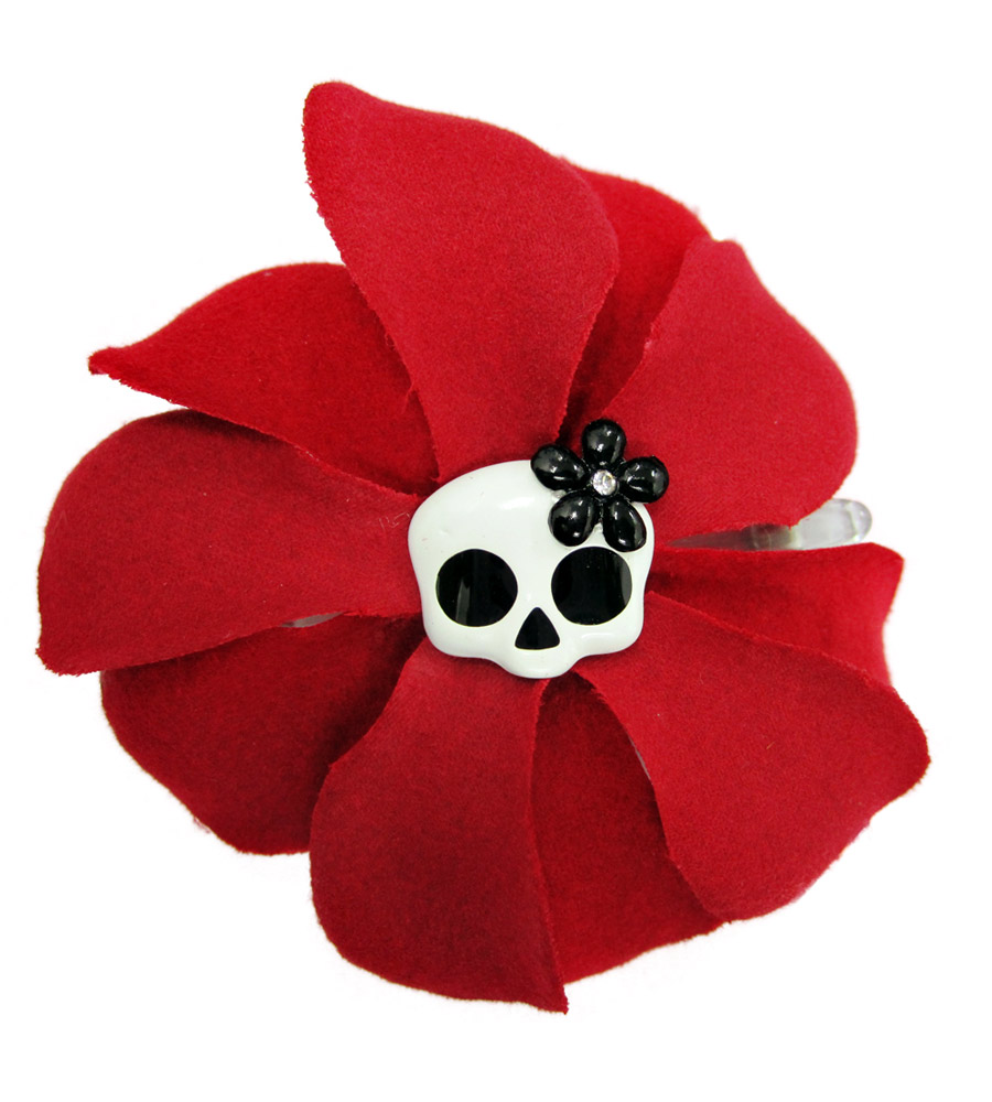 Red Rose & Skull Hair Pin
