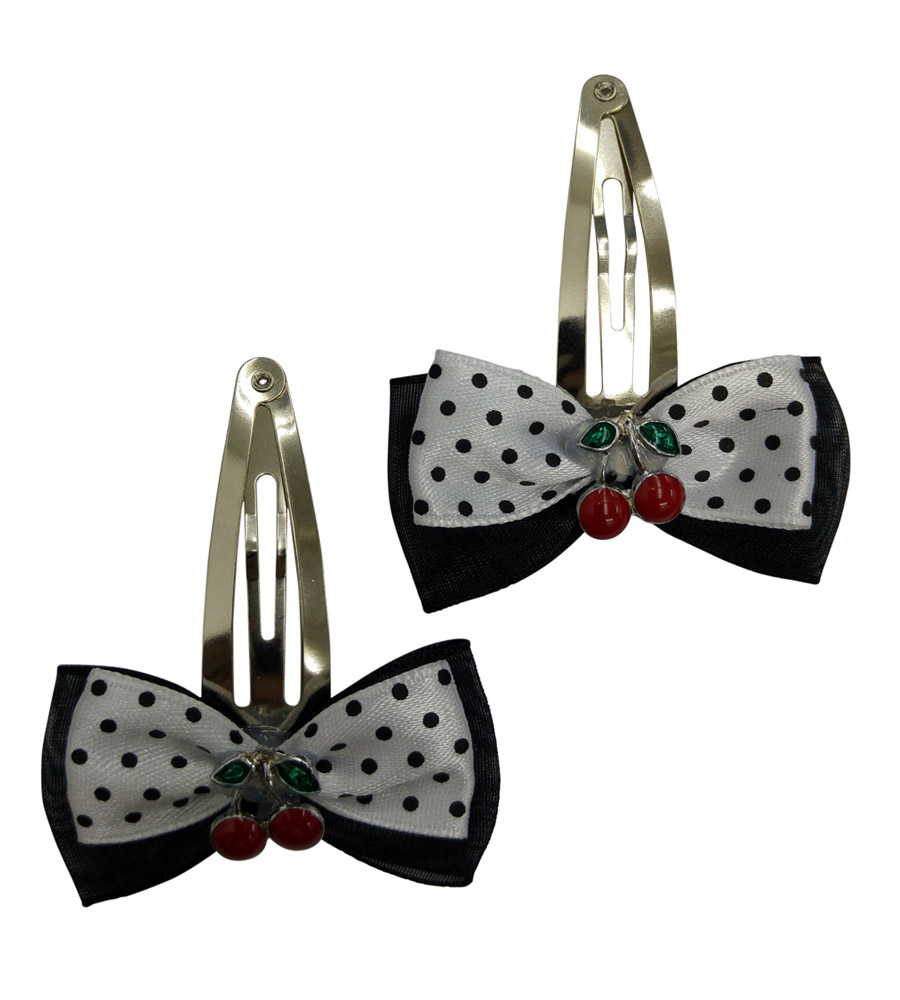 Black & White Polka Dots Hair Pin with Cherry's