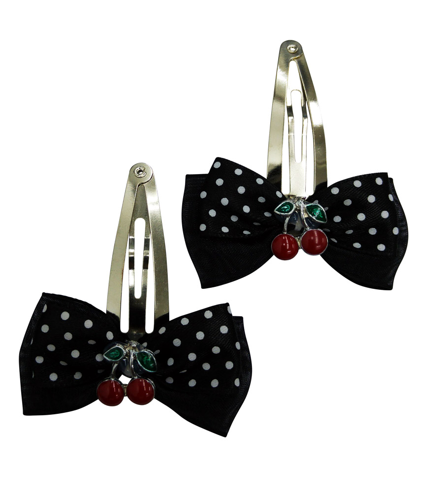 Black Polka Dot Cherry's Hair Pin