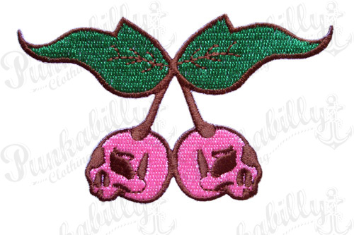 Pink Cherry Skulls Punk Patch