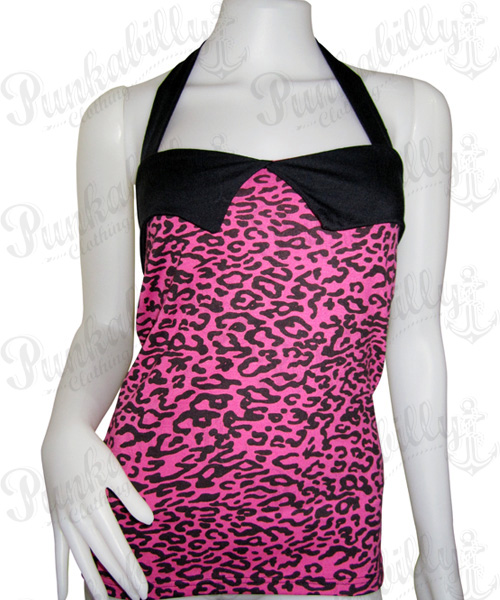 Leopard pink rockabilly tank top
