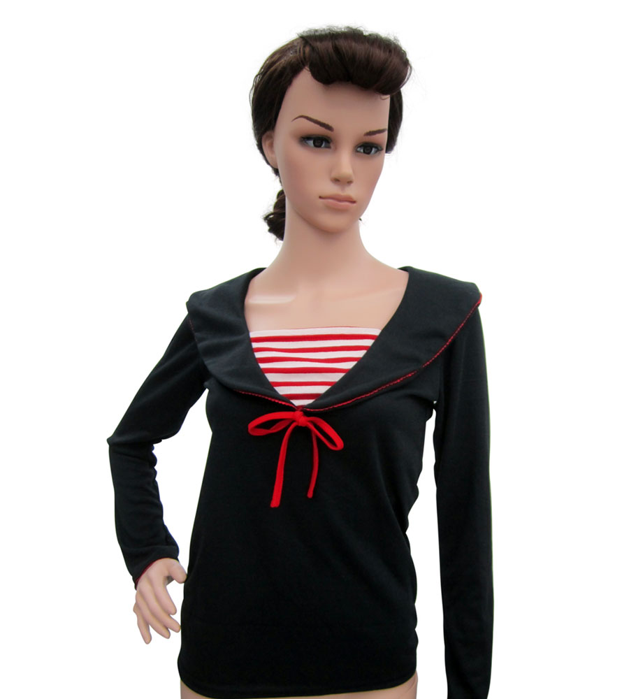 Black long sleeves sailor top