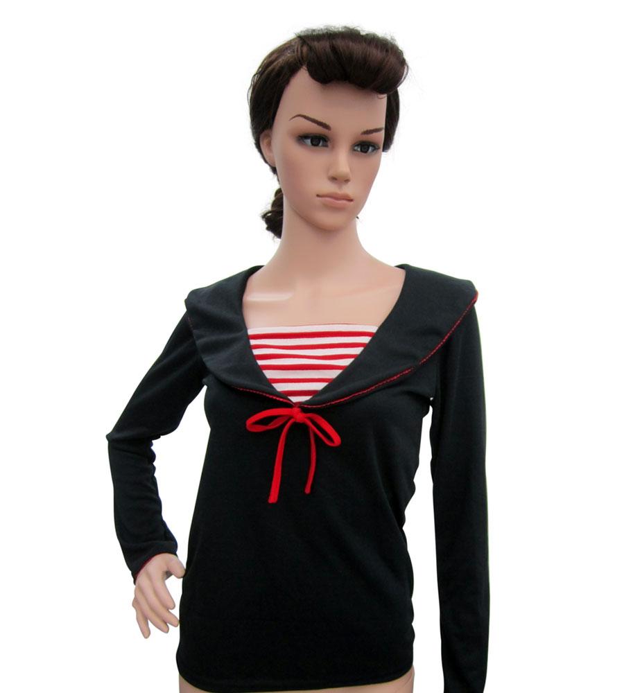Black long sleeves sailor top