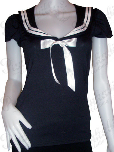 Navy Blue Rockabilly Sailor Top