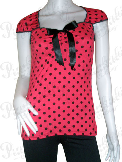 Red Rockabilly Top with Black Polka Dots.