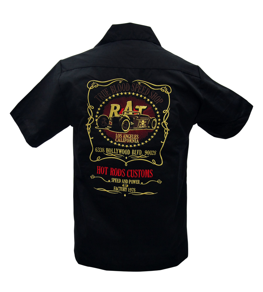 Rat embroidered work shirt