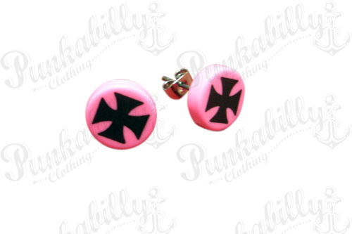 Pink & Black Iron Cross Punk Ear Studs